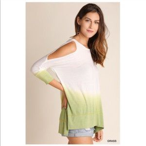 Ombre Cold Shoulder Tunic Green White NWT